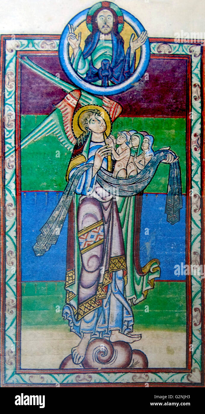 Painting of St Michael the Archangel presenting a napkin of souls to Christ - Stock Image