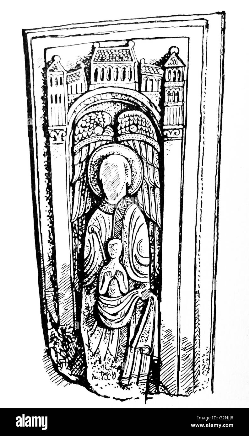 Line drawing of a tomb slab possibly belonging to Bishop Nigel - Stock Image
