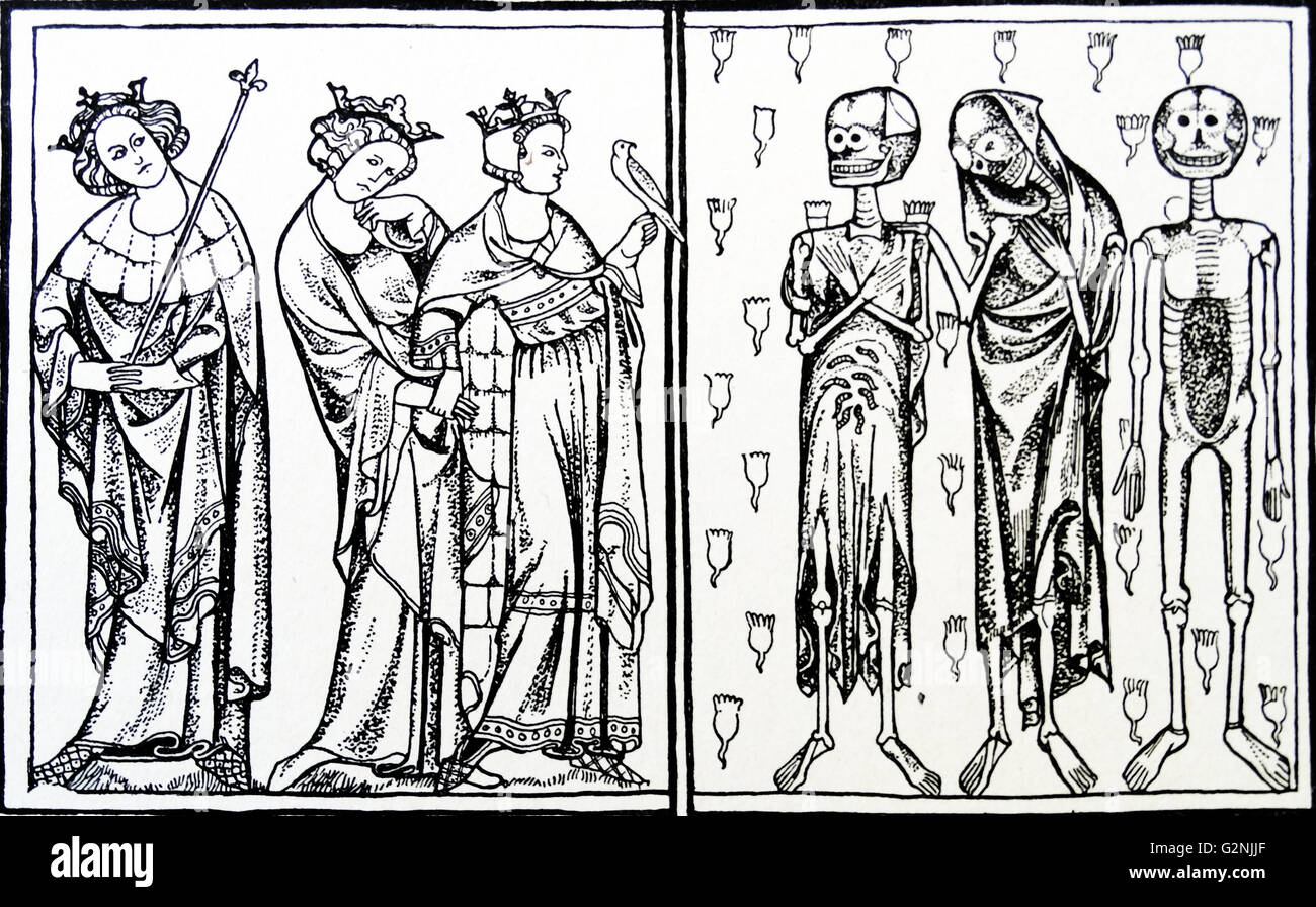 Line drawing from the Lisle Psalter titled 'The three living and the three dead' - Stock Image