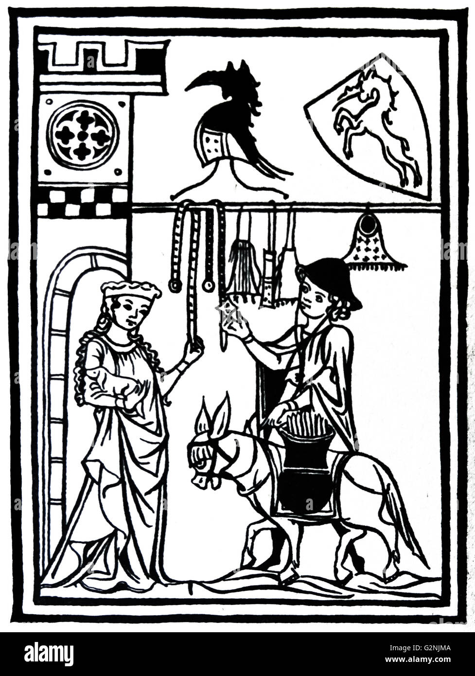 Woodcut of a travelling pedlar displaying his wares to the lady of the castle - Stock Image