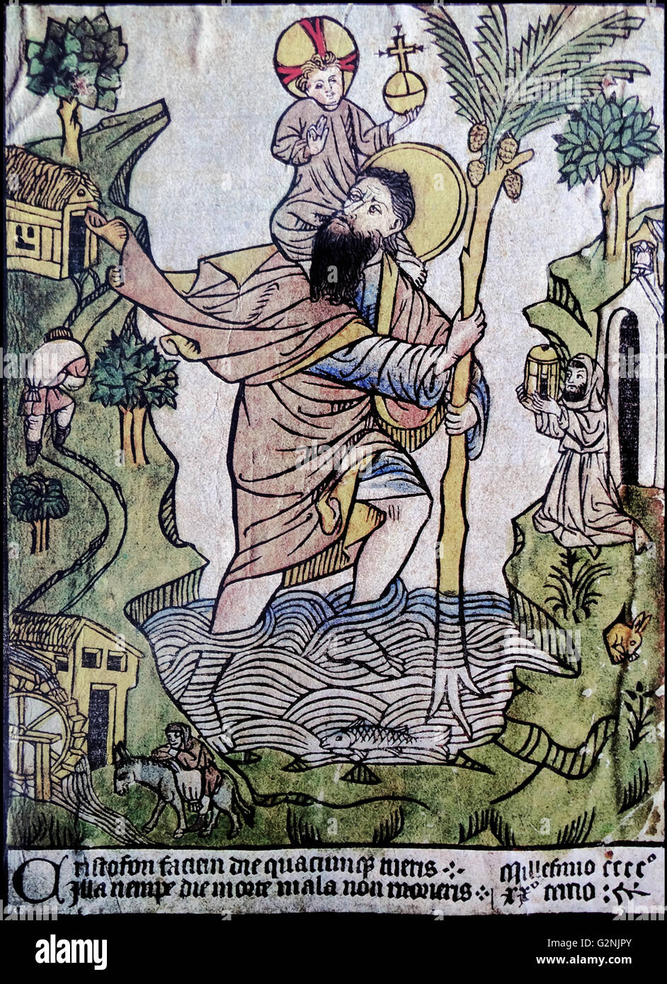 Woodcut, tinted in watercolour, of St Christopher - Stock Image