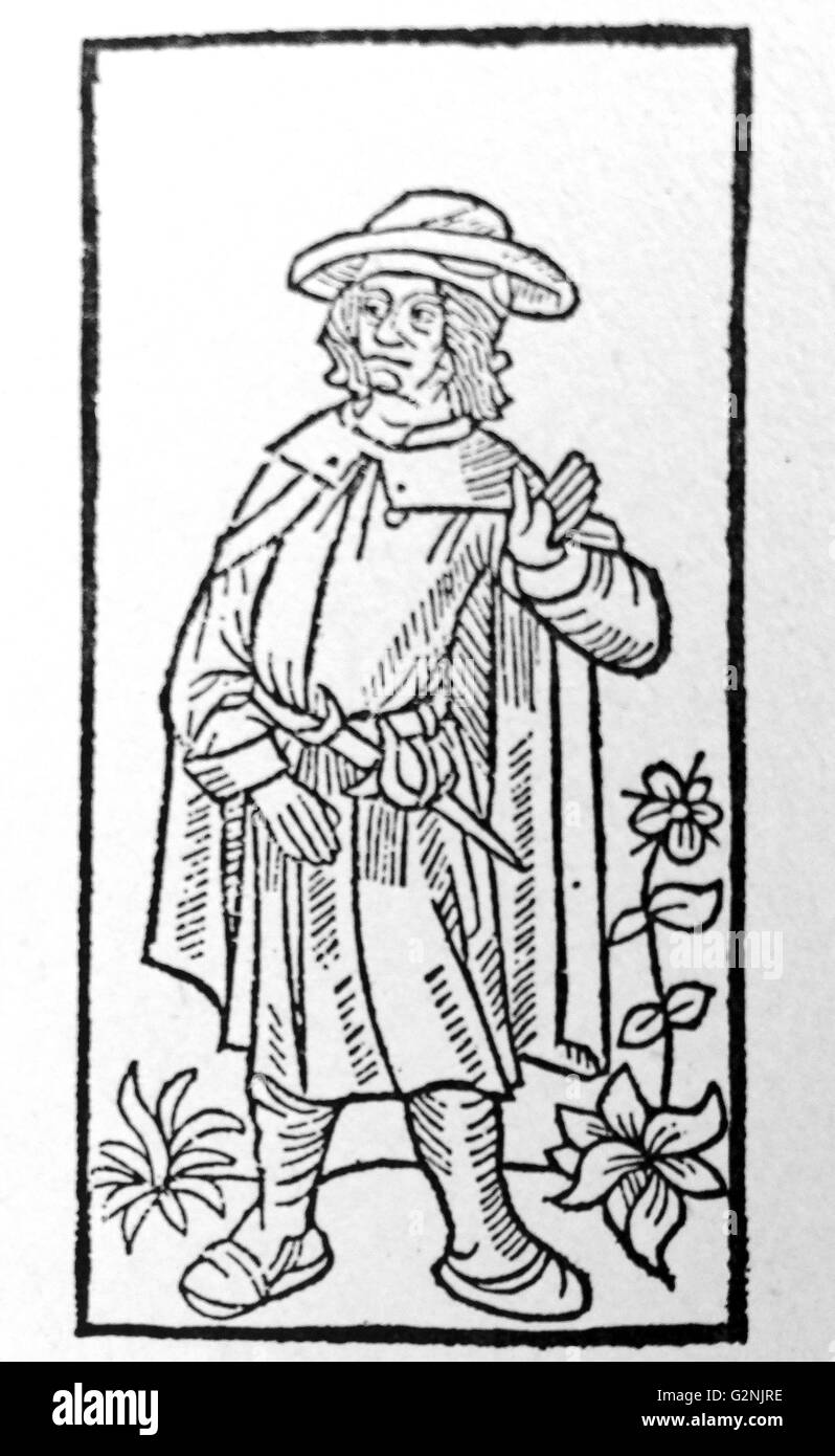 Woodcut of François Villon - Stock Image