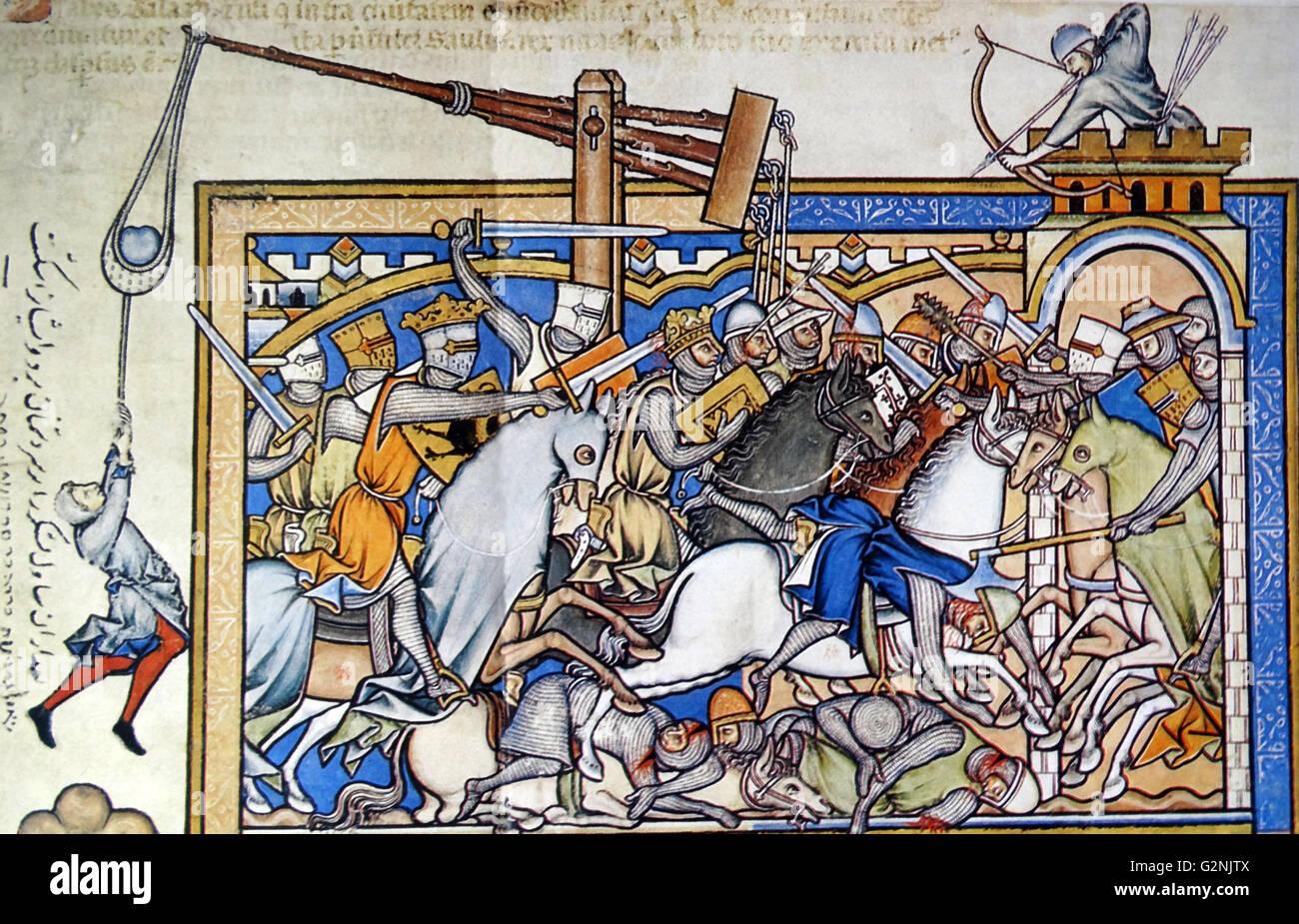 Mediaeval battle scene - Stock Image