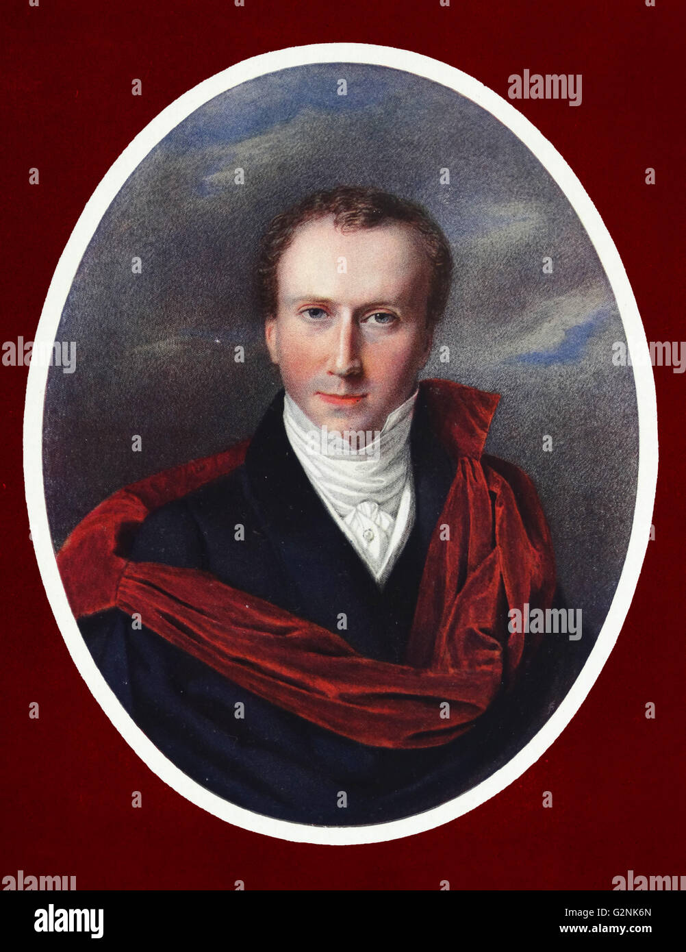 Portrait of the artist (1793-1865) by Ferdinand Georg Waldmuller (1793-1865) an Austrian painter and writer. - Stock Image