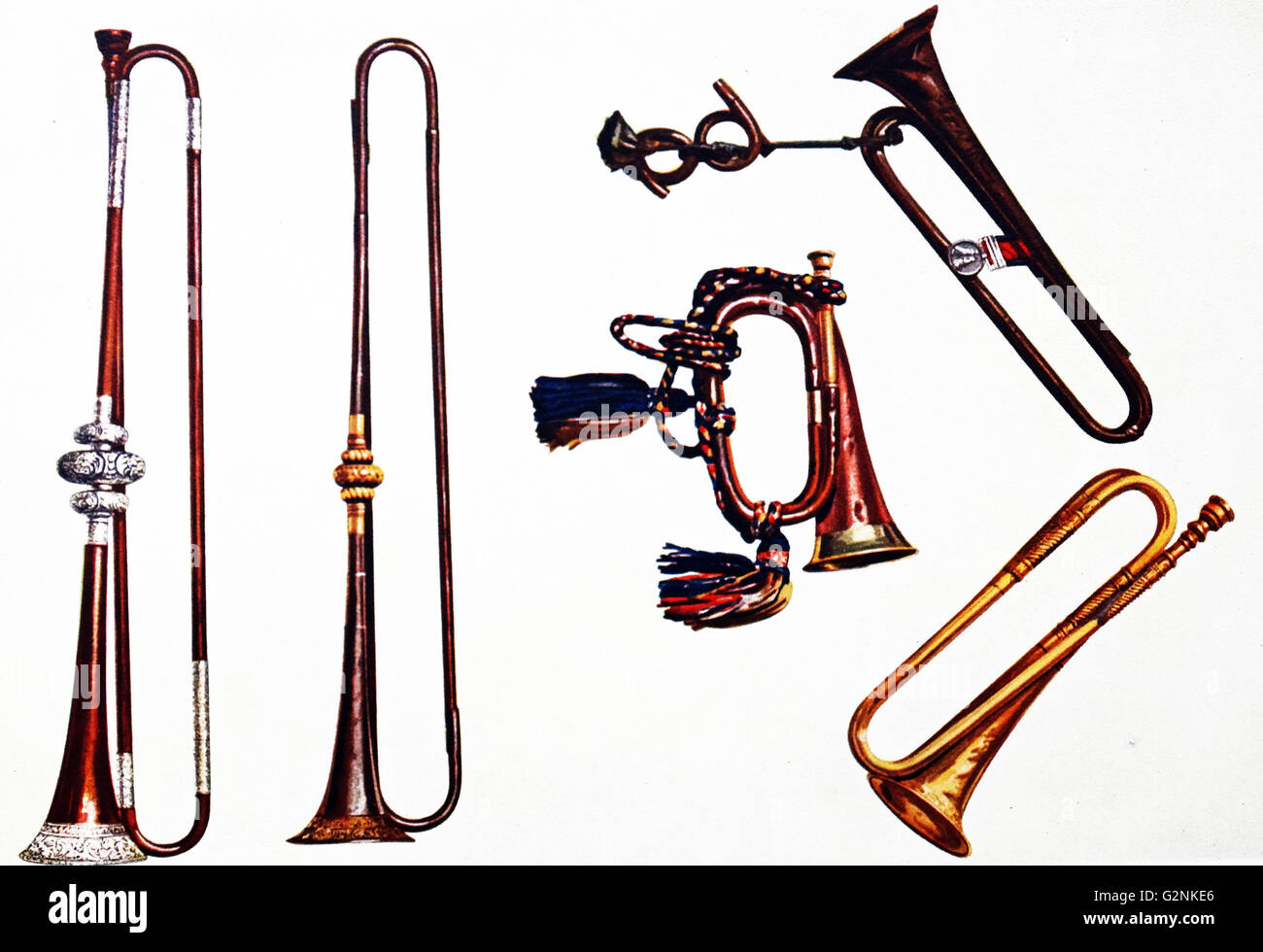 Cavalry Bugle, Cavalry Trumpet and Trumpets - Stock Image