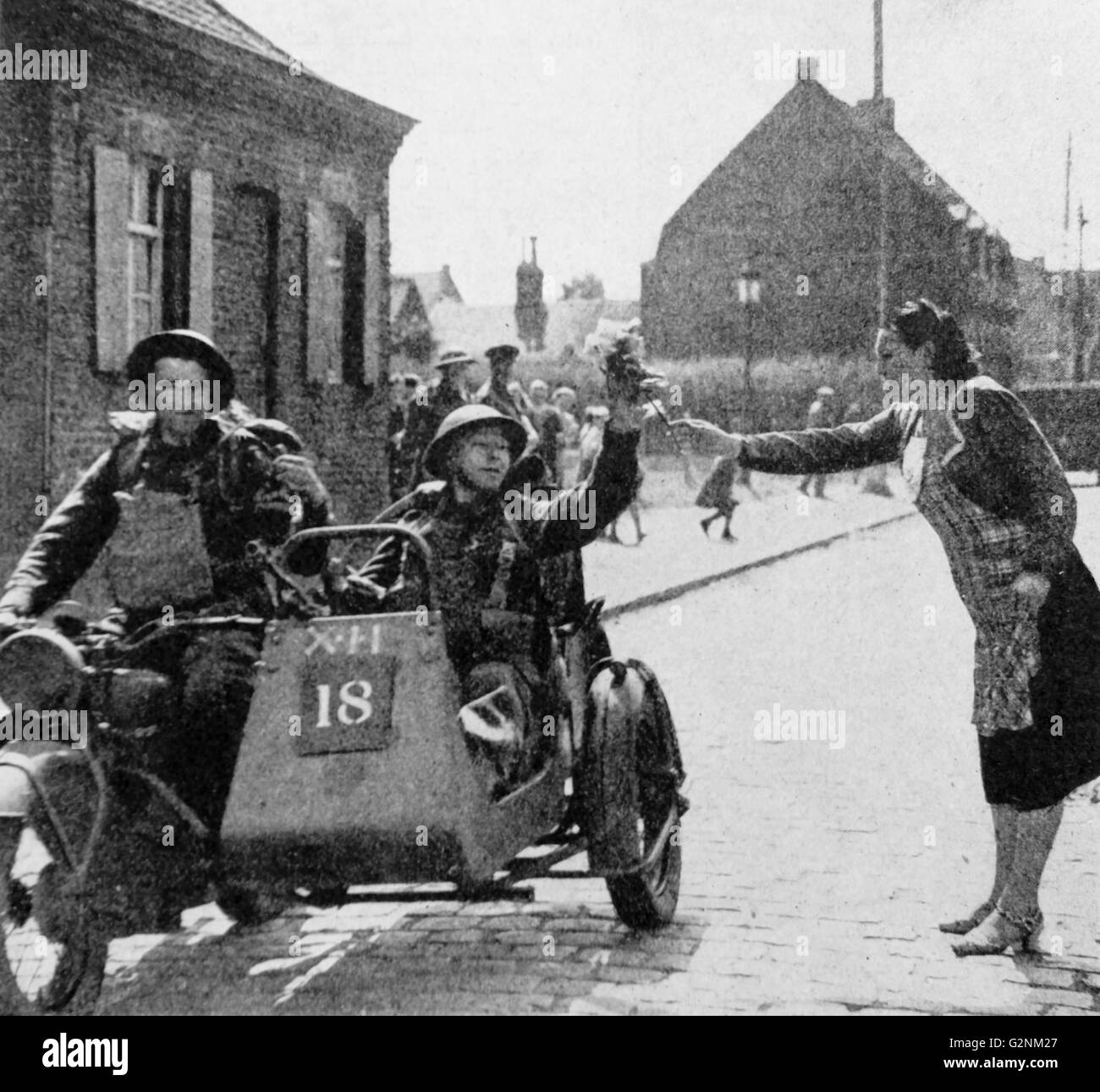 World war two: British soldiers greeted in Belgium during 1940 - Stock Image