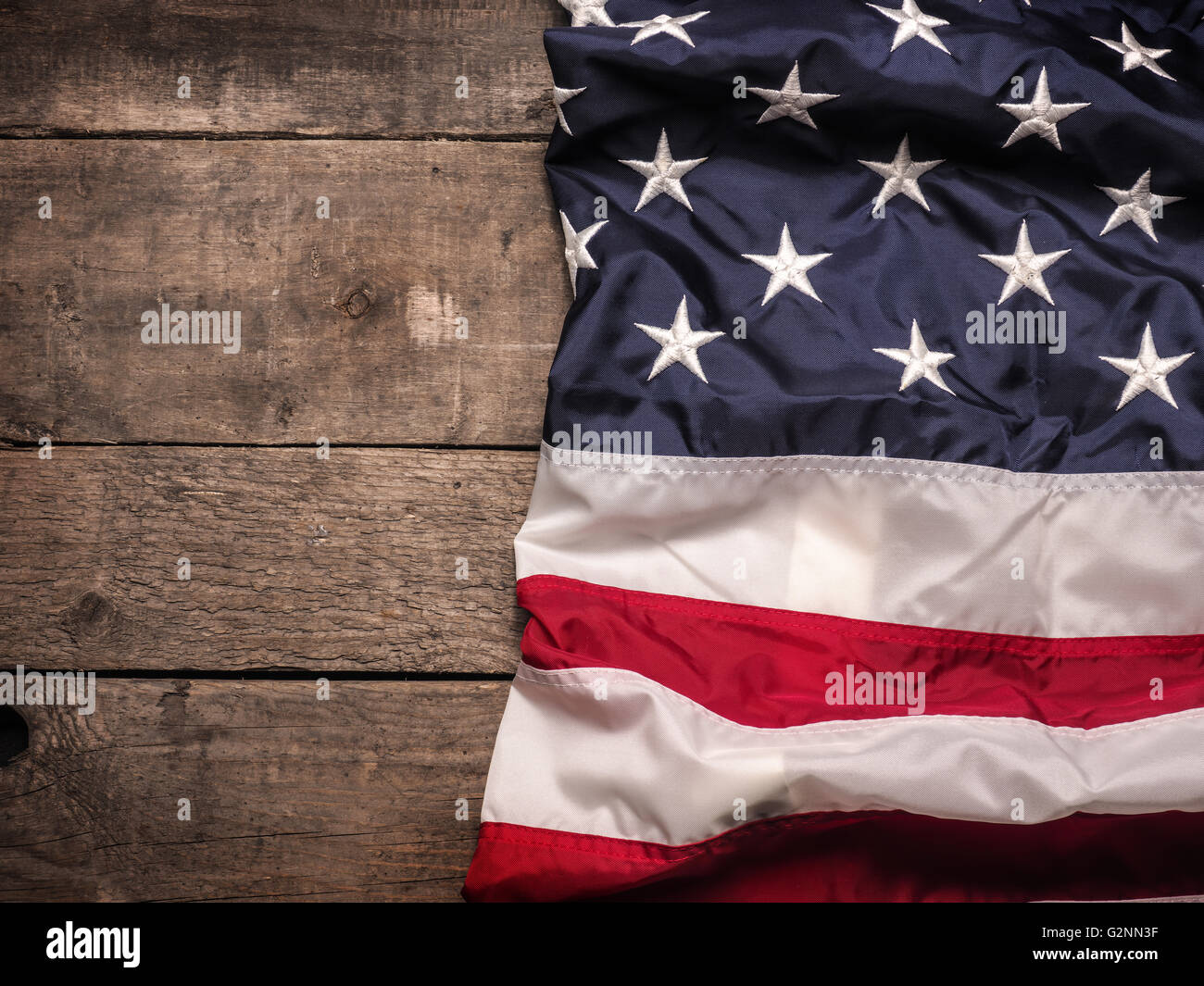 The Flag Of United States America On Rustic Barn Wood