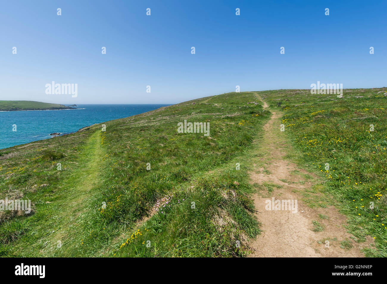 Sunny weather. Worn footpaths on East Pentire Headland in Newquay, Cornwall. - Stock Image