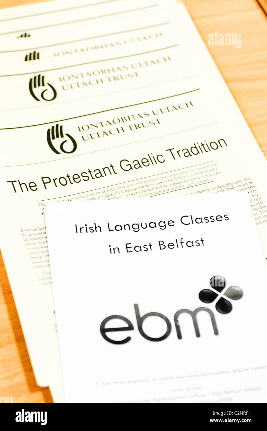 Belfast, 13/10/2012 - Leaflets in support of protestants learning the Irish Language, promoted by Linda Irvine, - Stock Image