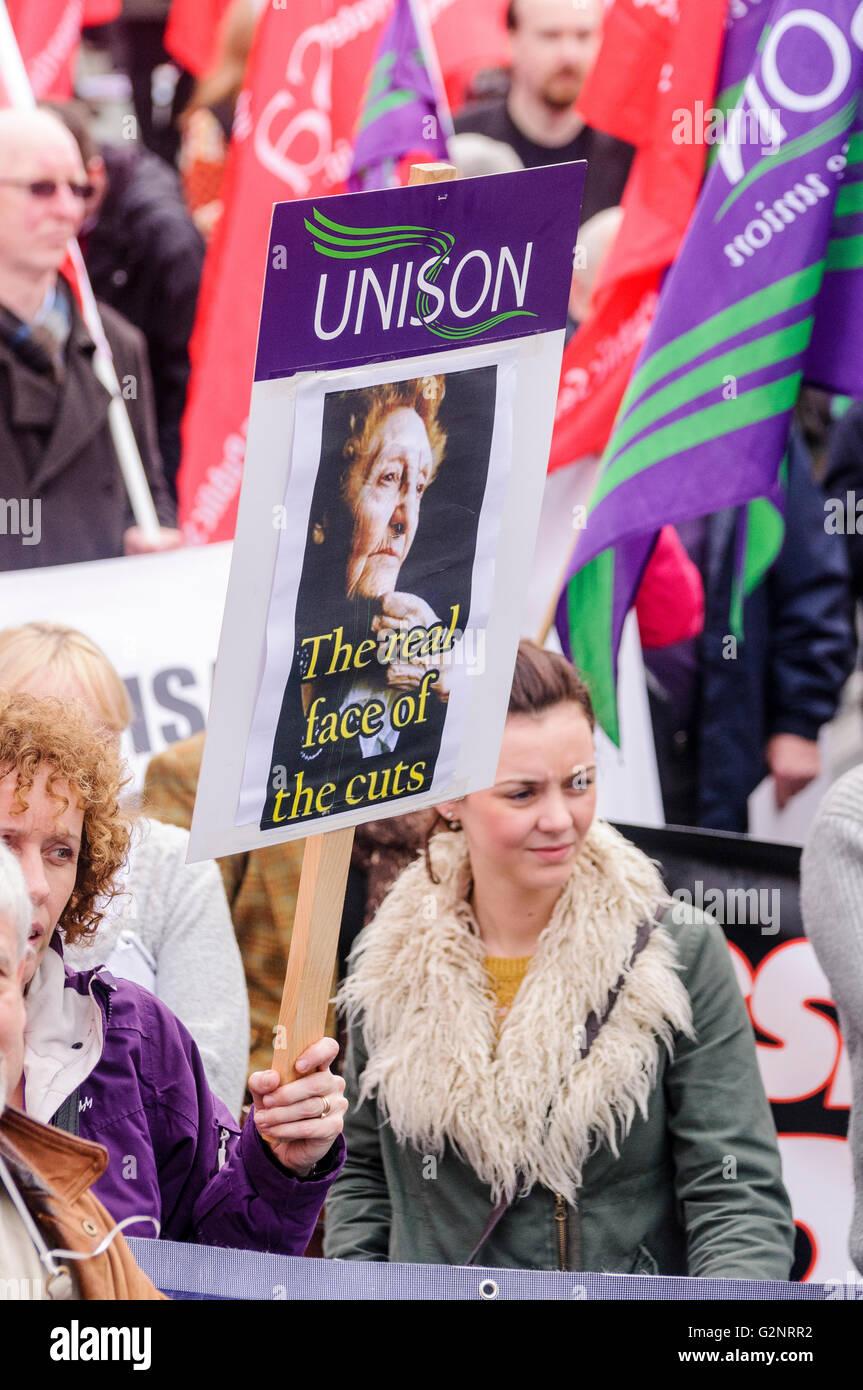20/10/2012, Belfast - Unison members. ICTU hold an anti-austerity rally in Belfast. - Stock Image