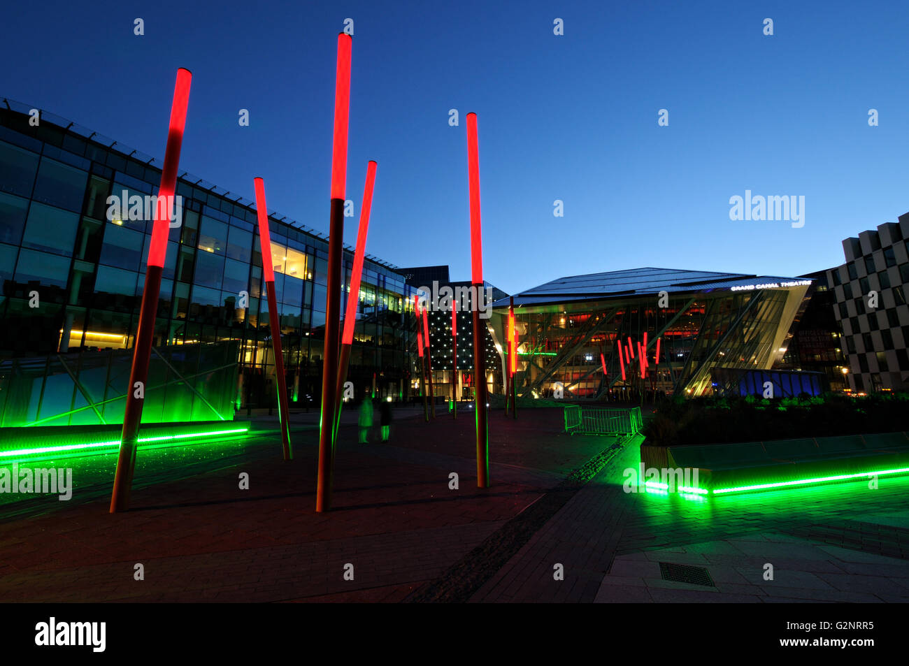 The Bord Gáis Energy Theatre formerly opened as Grand Canal Theatre at night in Dublin, Ireland Stock Photo