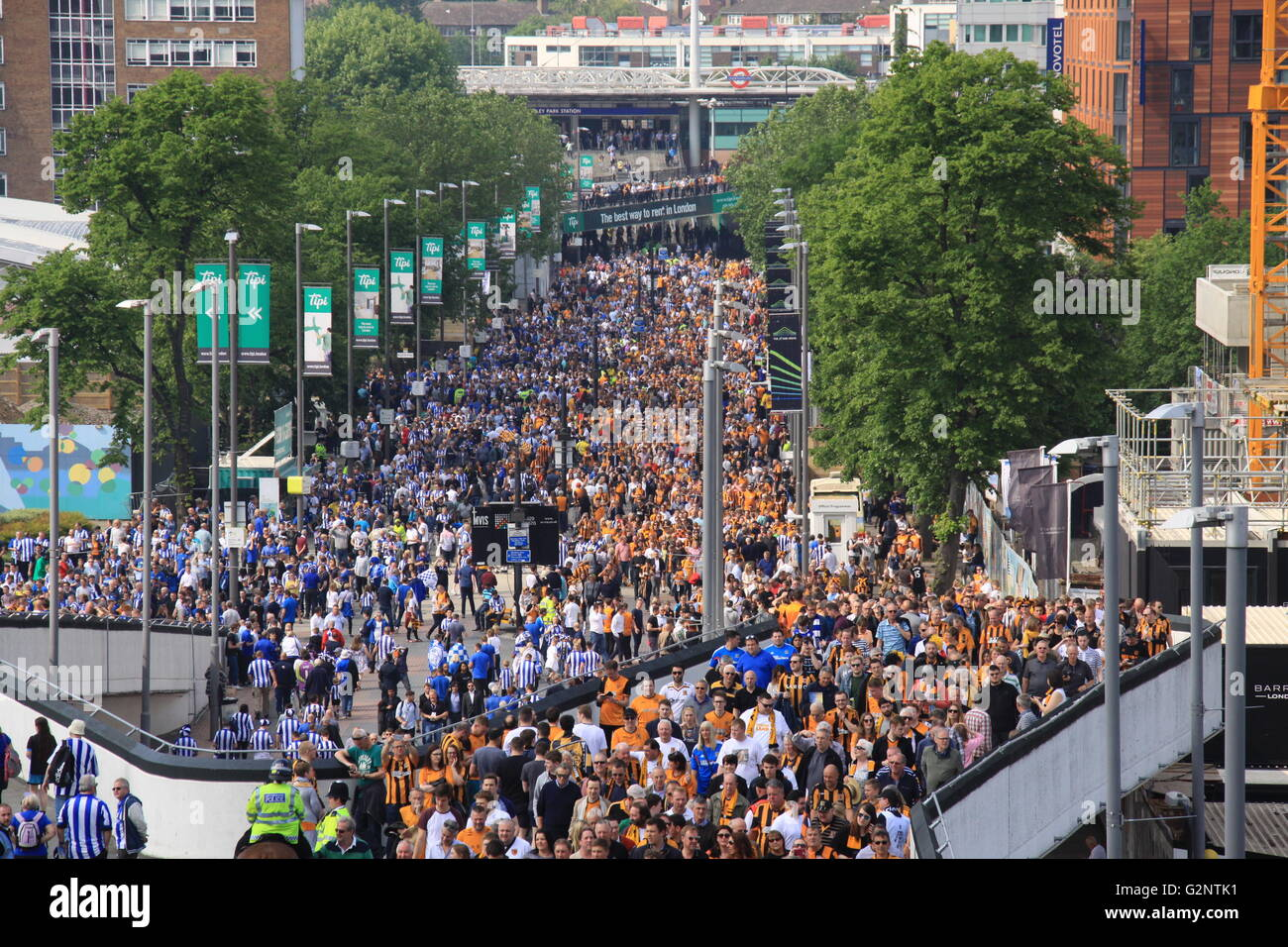 Wembley Way looking towards Wembley Park Station before the Championship Play-off Hull City v Sheffield Wednesday - Stock Image