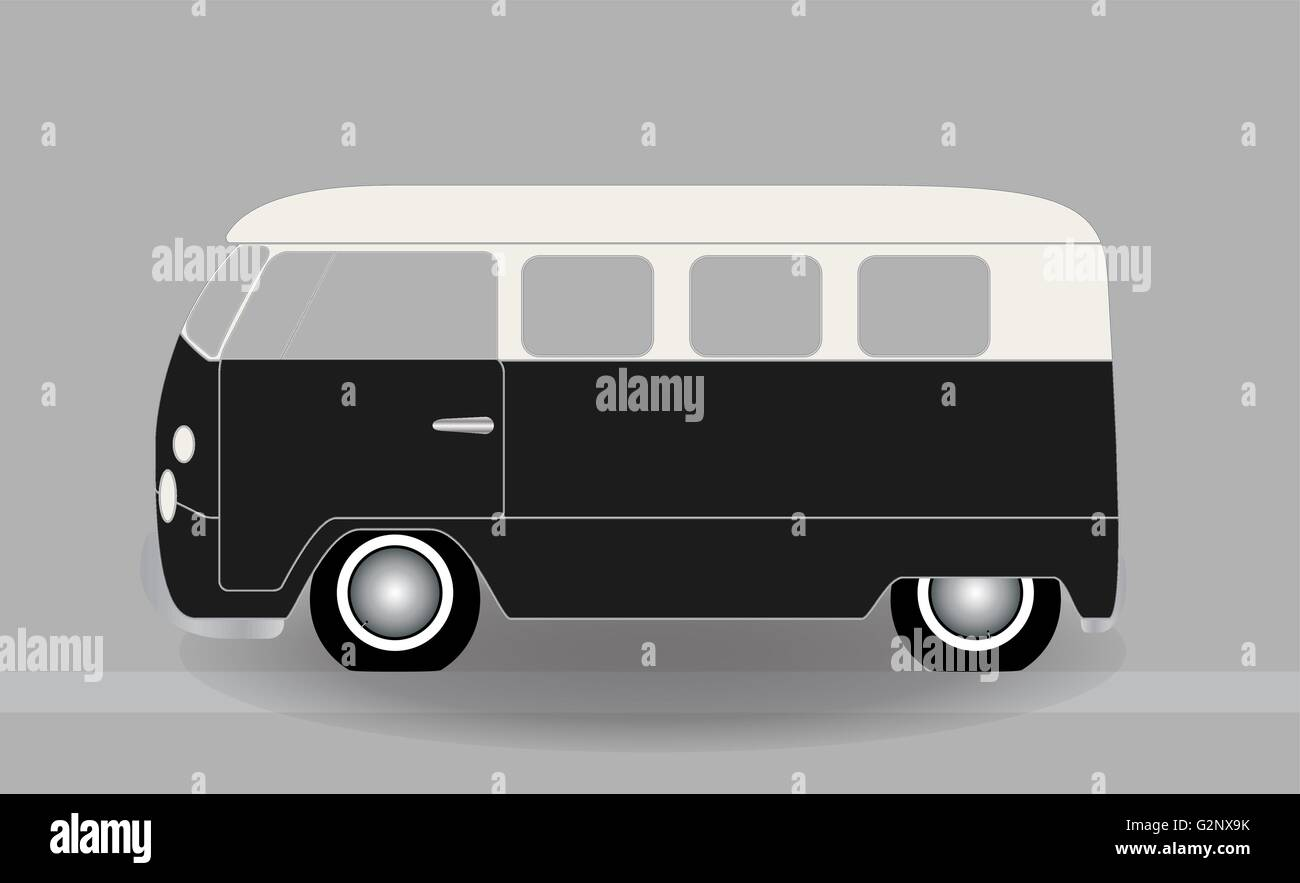 Cartoon cheerful minibus, which travels on the road. Vector Illu Stock Vector