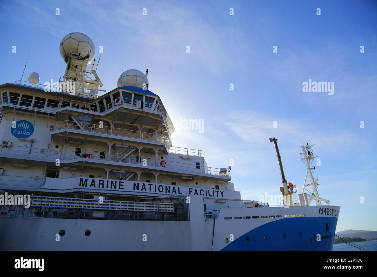 The CSIRO Marine National Facility 'RV Investigator' docked in Sullivans Cove, on the Derwent River, Hobart, - Stock Image