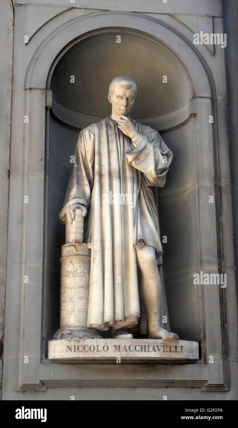 Statue located outside of the Uffizi museum in Florence, Italy. One of the oldest art museums in the Western World. Stock Photo
