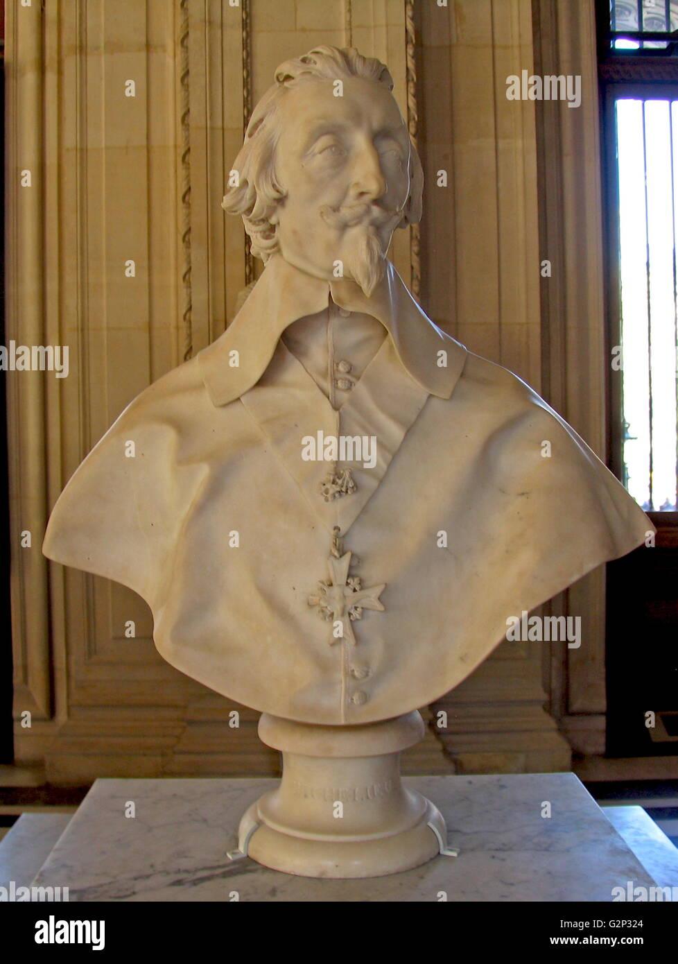 Cardinal Richelieu Sculpture by Gian Lorenzo Bernini. - Stock Image