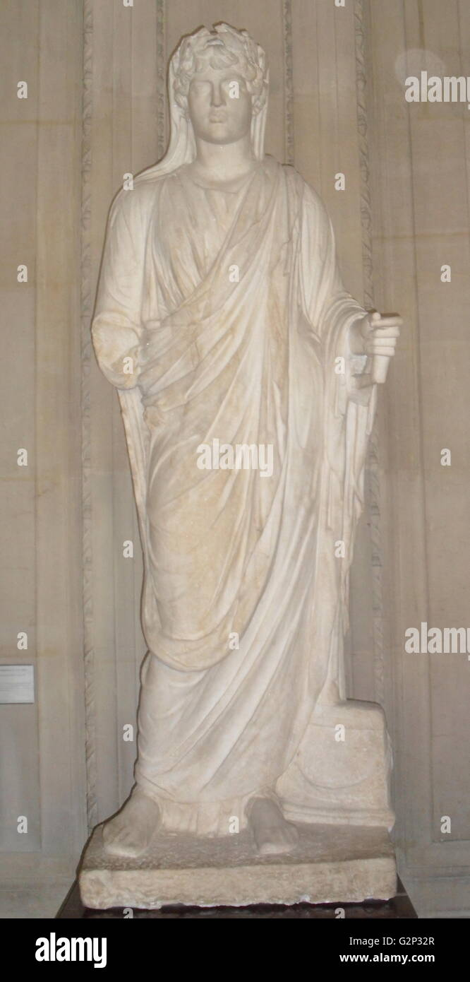 Marble statue of Antinous as deified priest. - Stock Image