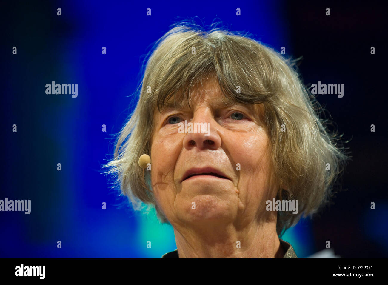 Margaret Drabble speaking on stage at Hay Festival 2016 - Stock Image