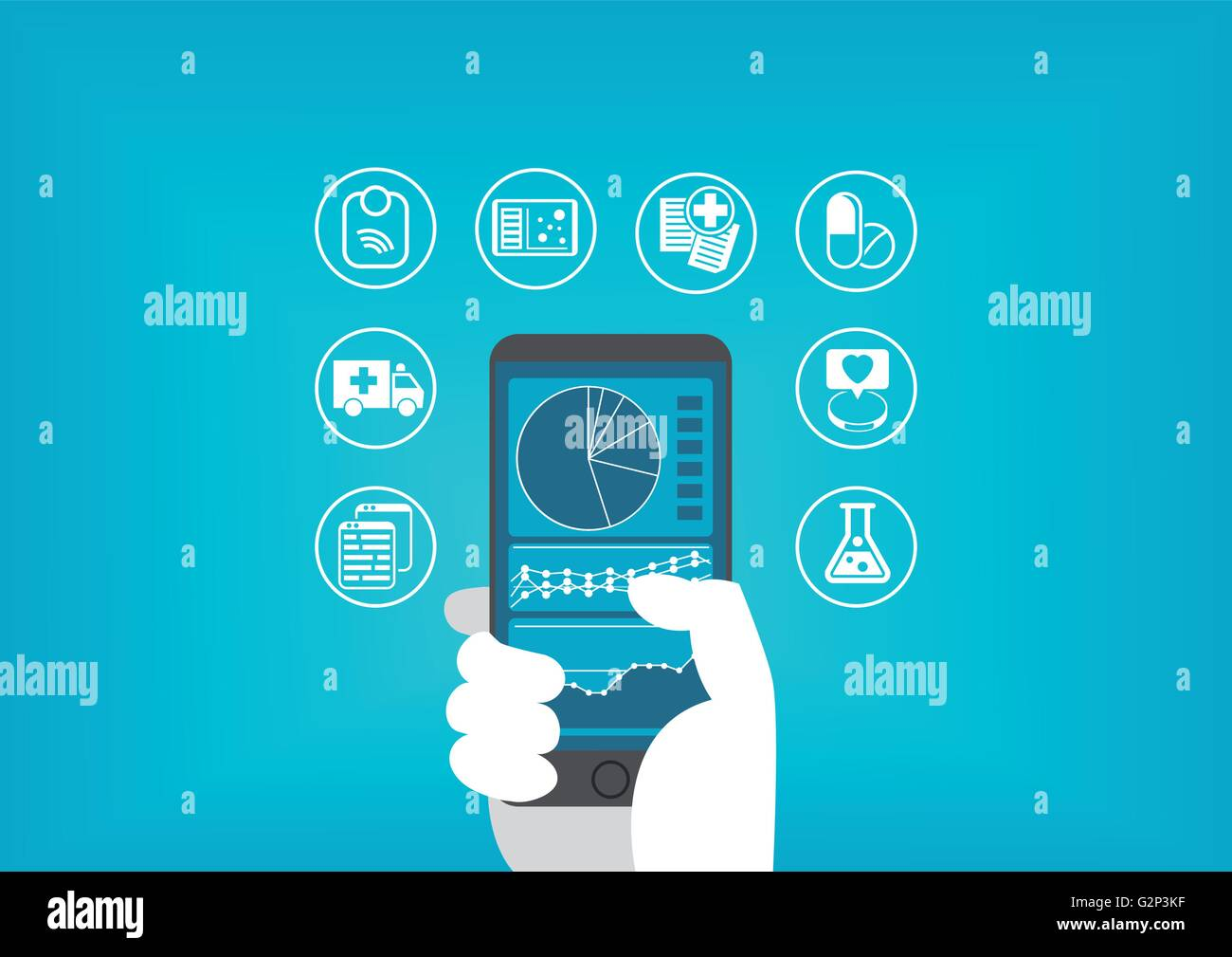 Electronic healthcare (e-health) concept with hand holding smart phone to access digital medical records of patients Stock Vector