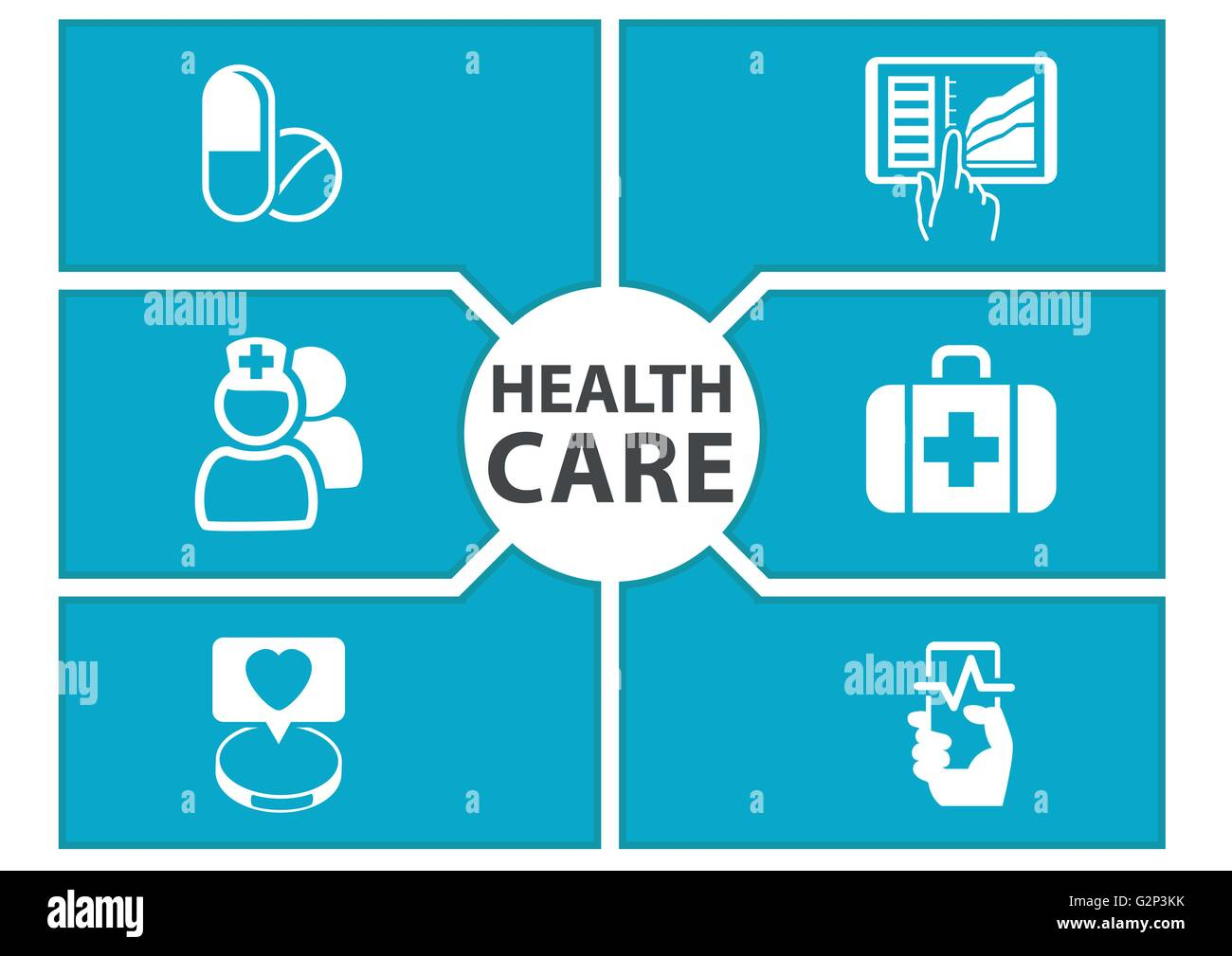 E-health care background with symbols of modern devices like smart phone, tablet, digital medical record - Stock Image