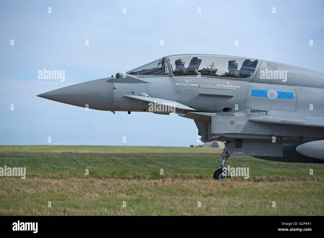 RAF two seater variant Eurofighter FRG4 Typhoon twin engined Jet Military fighter Aircraft.  SCO 11,258. - Stock Image