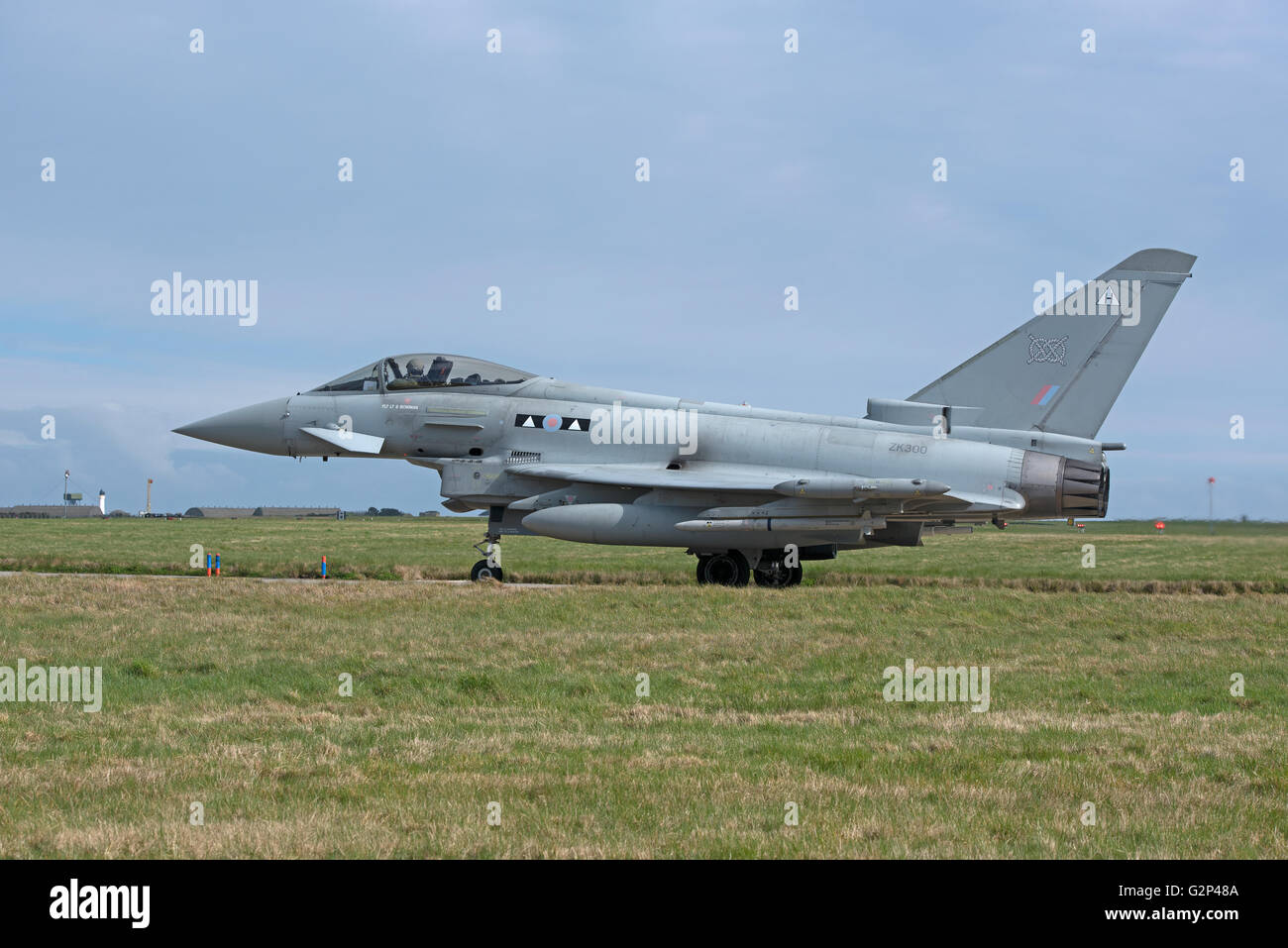 RAF Eurofighter FRG4 Typhoon twin engined Jet Military fighter Aircraft.  SCO 11,257. - Stock Image