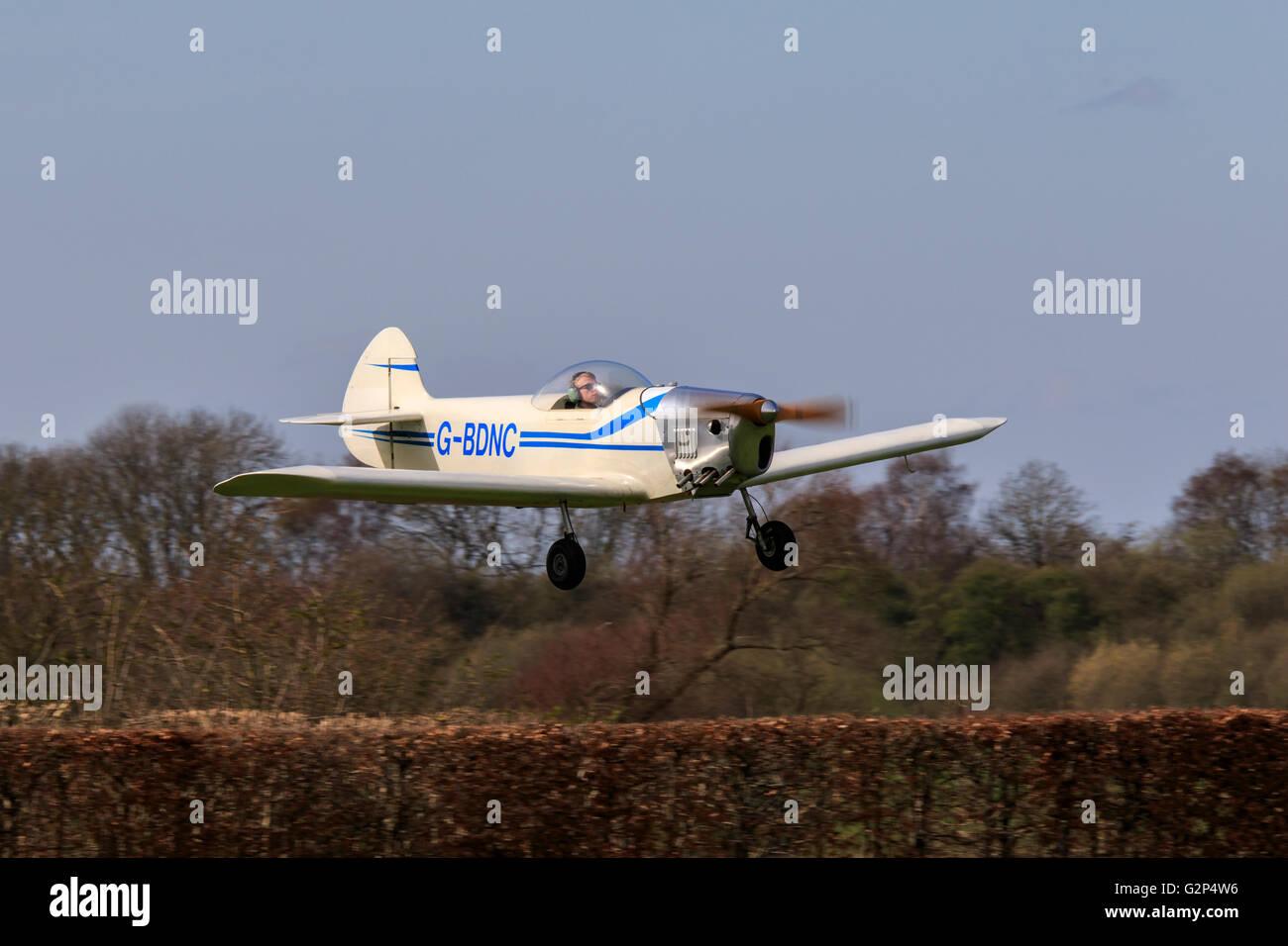 Taylor Monoplane G-BDNC landing at Breighton Airfield - Stock Image
