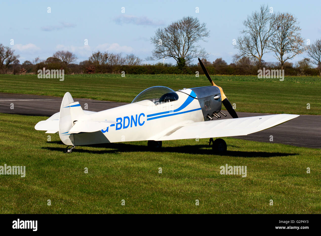 Taylor Monoplane G-BDNC parked at Breighton Airfield - Stock Image