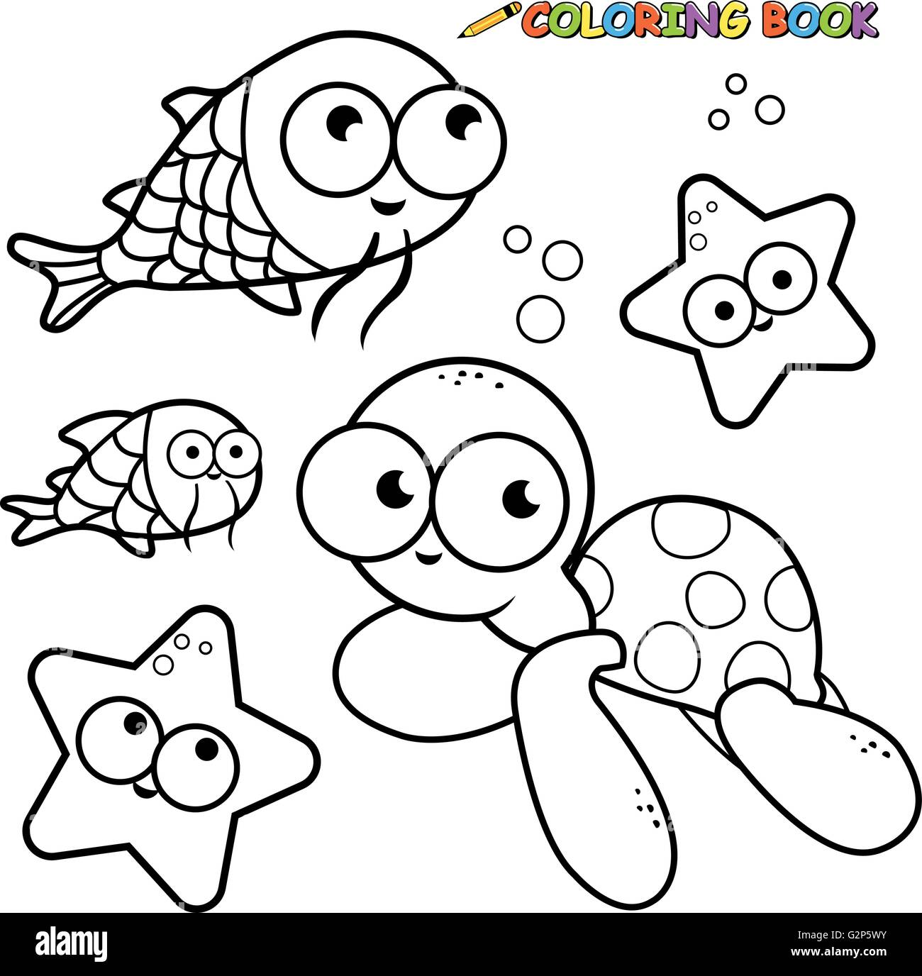 Black and white outline image of sea animals. Coloring book page ...