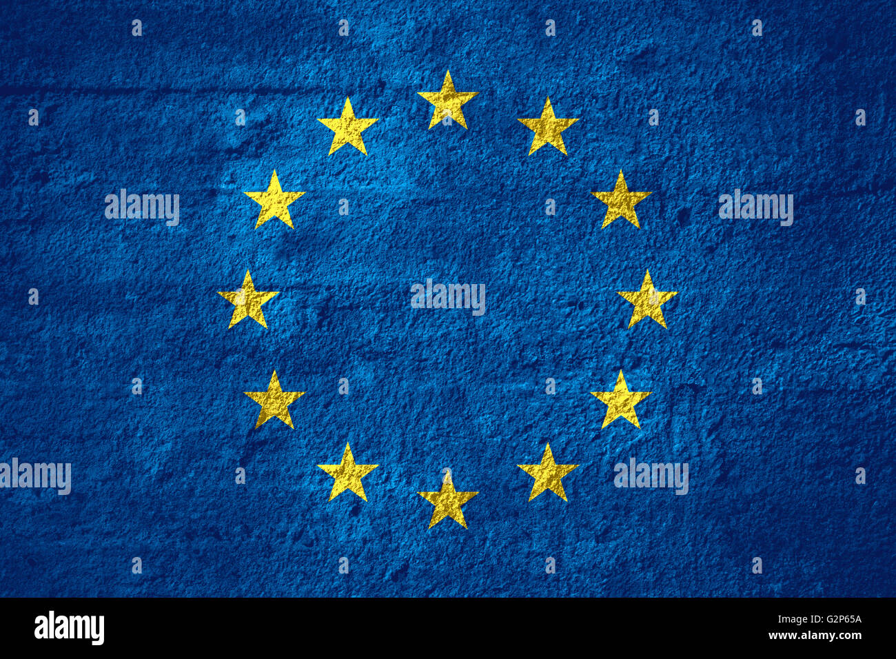 flag of European Union or Europe banner on rough texture - Stock Image