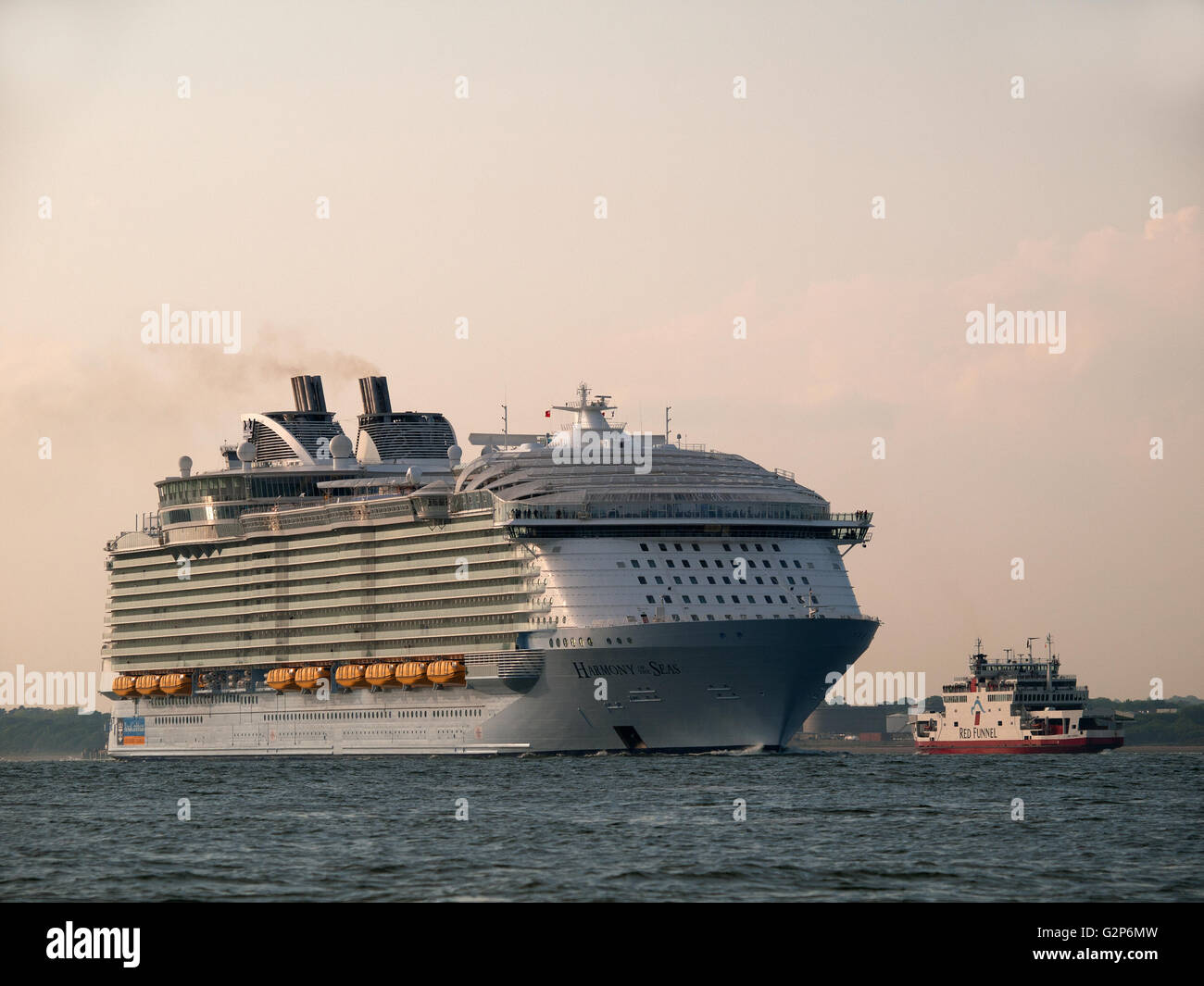 Cruise ship Harmony of the Seas leaving Southampton England UK Stock Photo