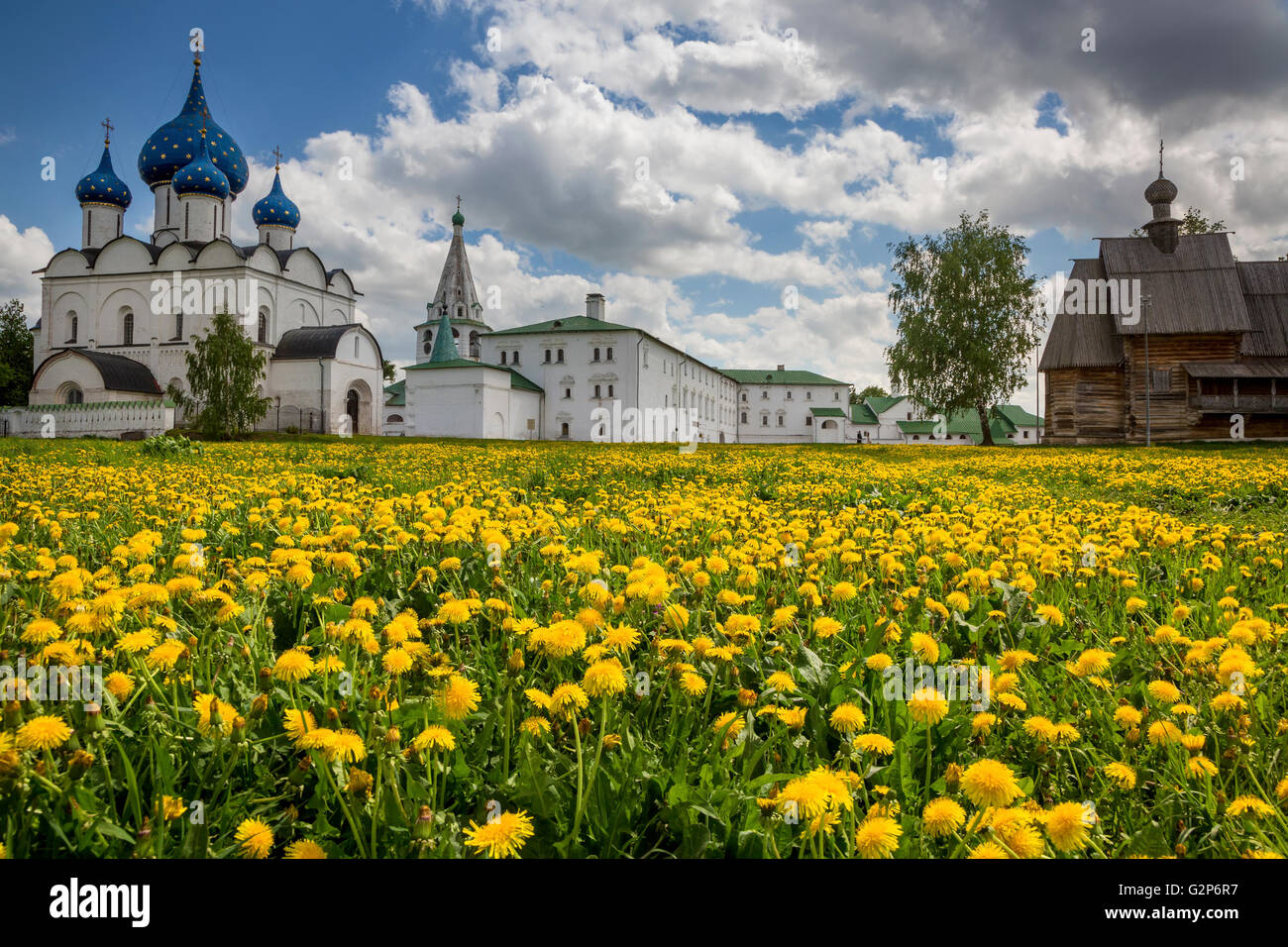 View of ancient Suzdal Kremlin in Russia. Suzdal is a part of touristic route Golden ring of Russia - Stock Image