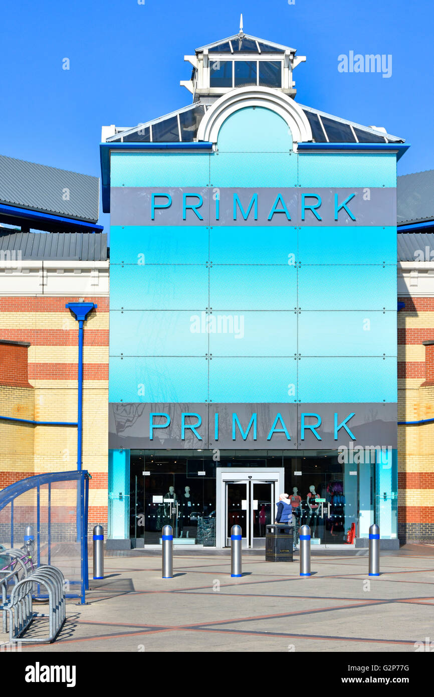 Primark clothing shop entrance at the Intu Lakeside shopping centre Malls at West Thurrock Essex England UK with - Stock Image