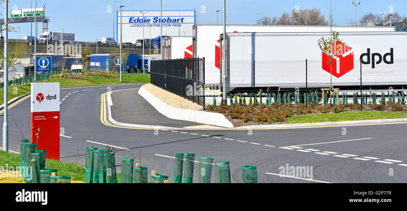 Transportation logistics entrance to new dpd parcel distribution depot beside A13 road with Eddie Stobart East London - Stock Image