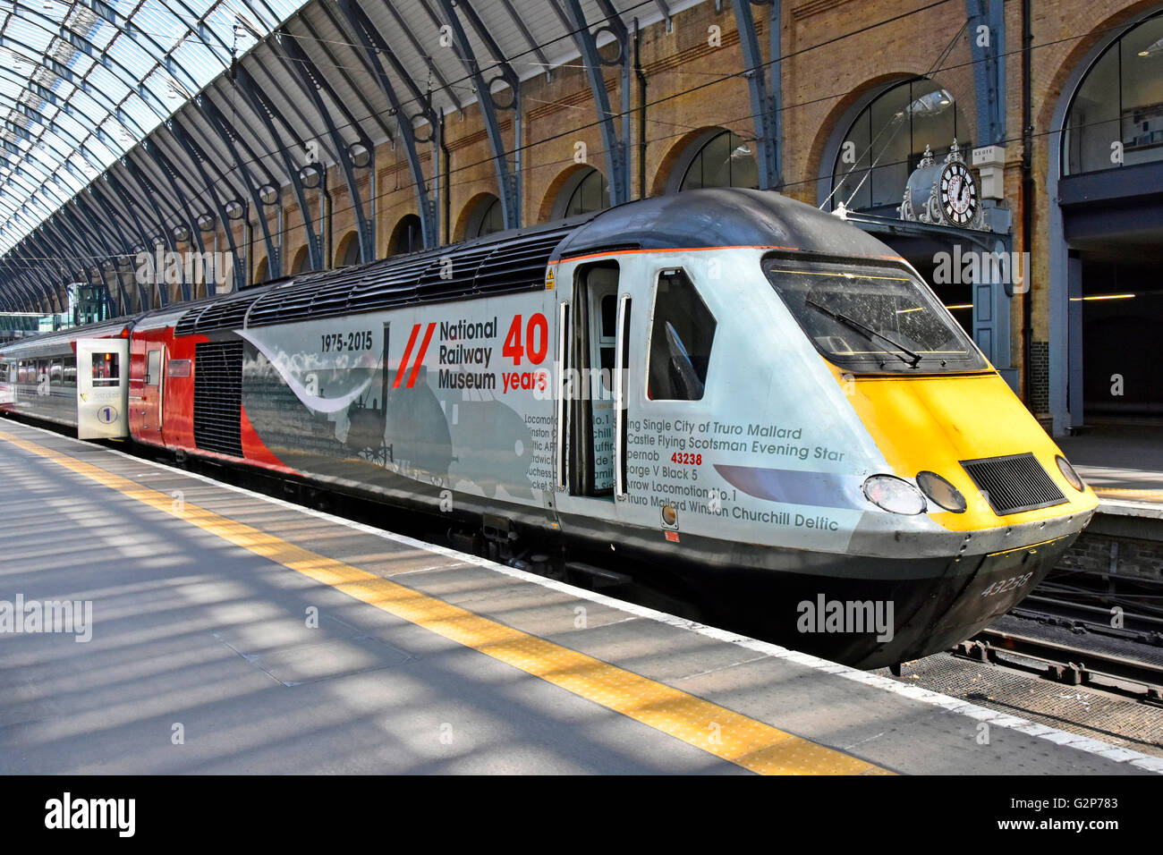 Locomotive 43238 at Kings Cross train station platform London England UK with promotional advertising for the National - Stock Image
