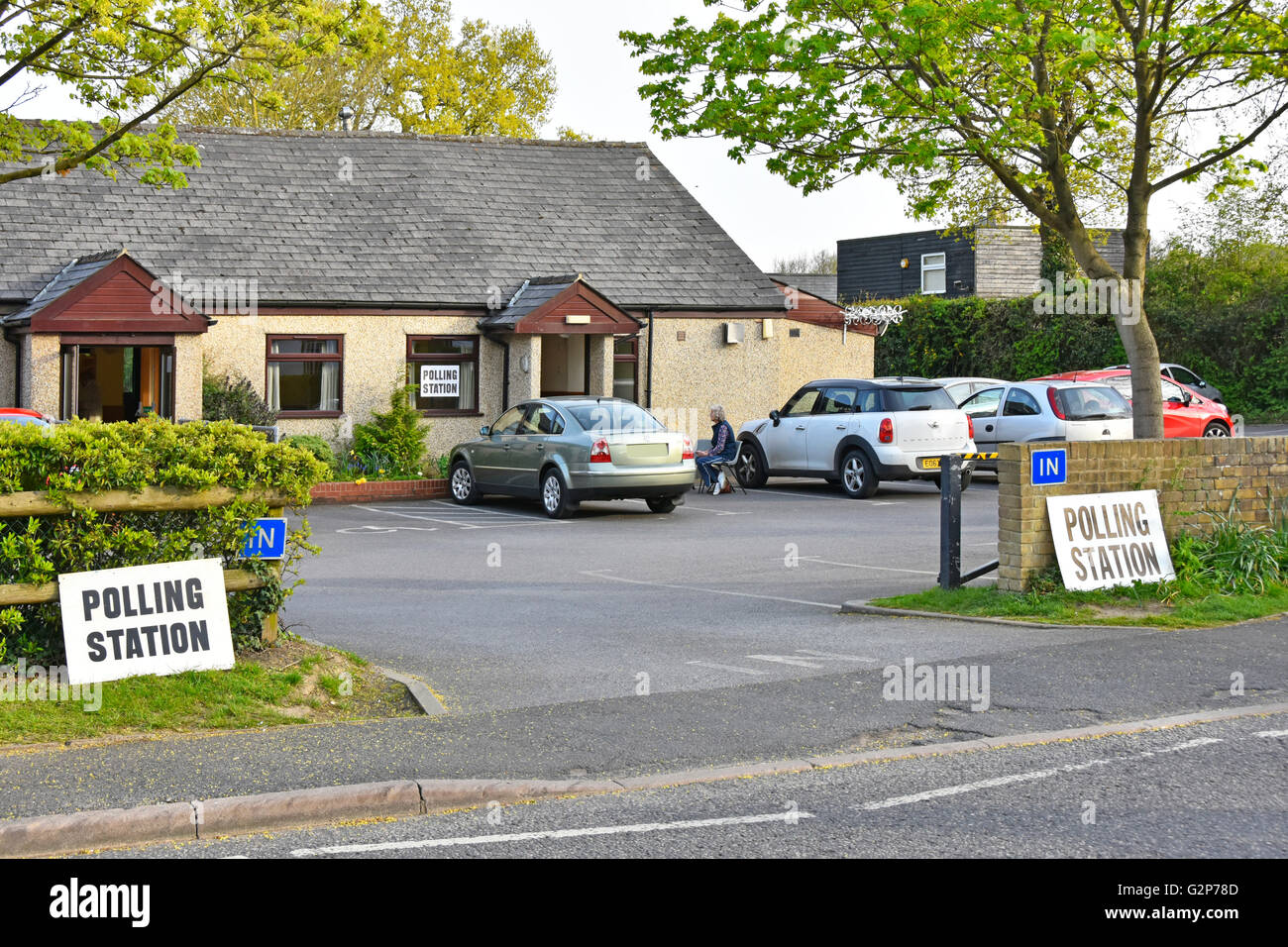 Signs outside rural Polling Station facilities including car parking provided in Doddinghurst Essex village hall - Stock Image