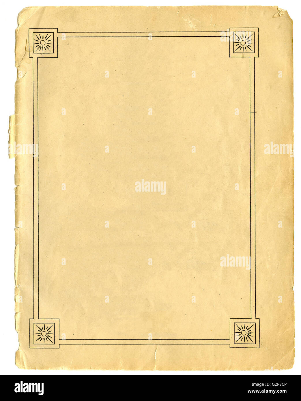 Vintage sheet of paper with sun filled border - Stock Image