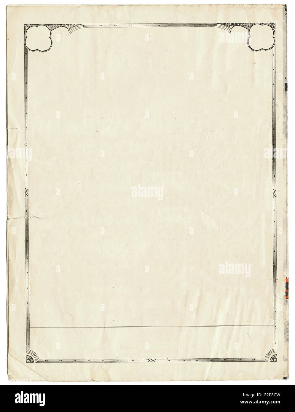 Vintage sheet of paper with an art deco border - Stock Image