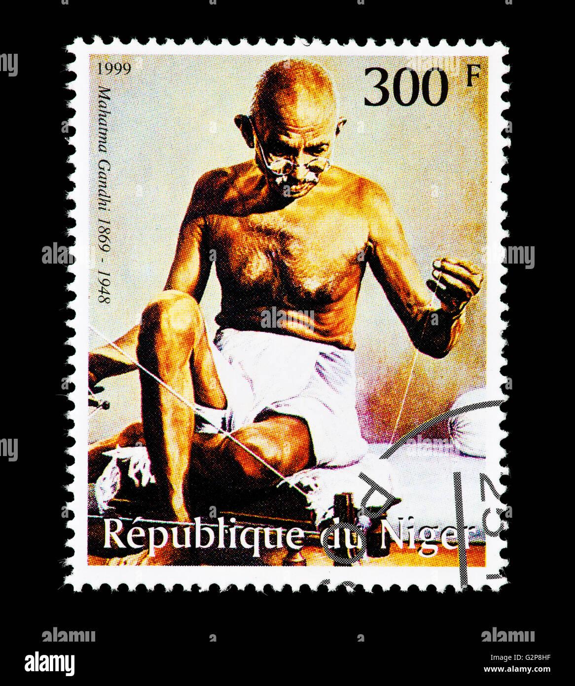 Postage stamp from Niger depicting Mohandas Karamchand Gandhi, Indian independence movement leader. - Stock Image