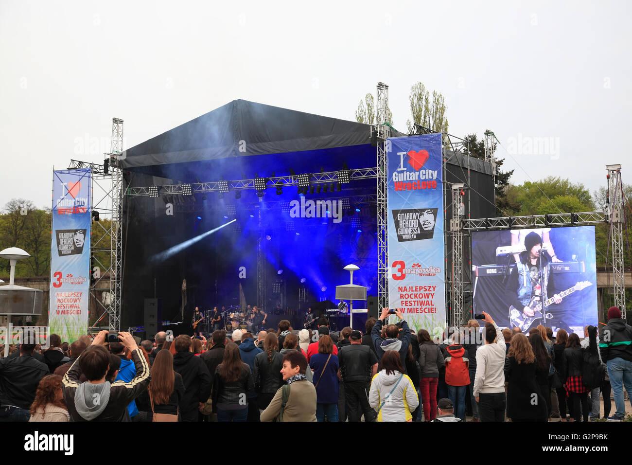 Rockkonzert STATUS QUO at Hala Stulecia, Wroclaw, Silesia, Poland, Europe Stock Photo