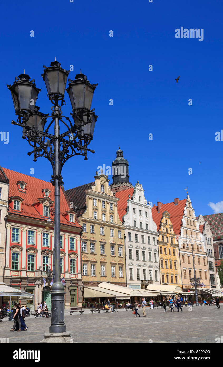 Old houses at market square Rynek, Wroclaw, Silesia, Poland, Europe Stock Photo