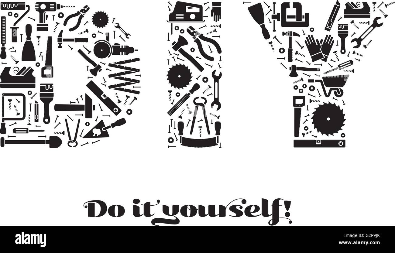 Do it yourself concept with letters DIY made of tools symbols, black on white - Stock Vector