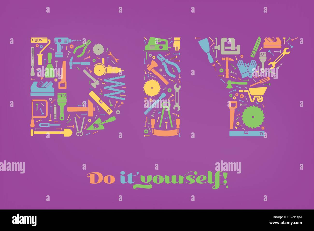 Do it yourself concept. Letters DIY made from colorful tools symbols on purple background - Stock Vector