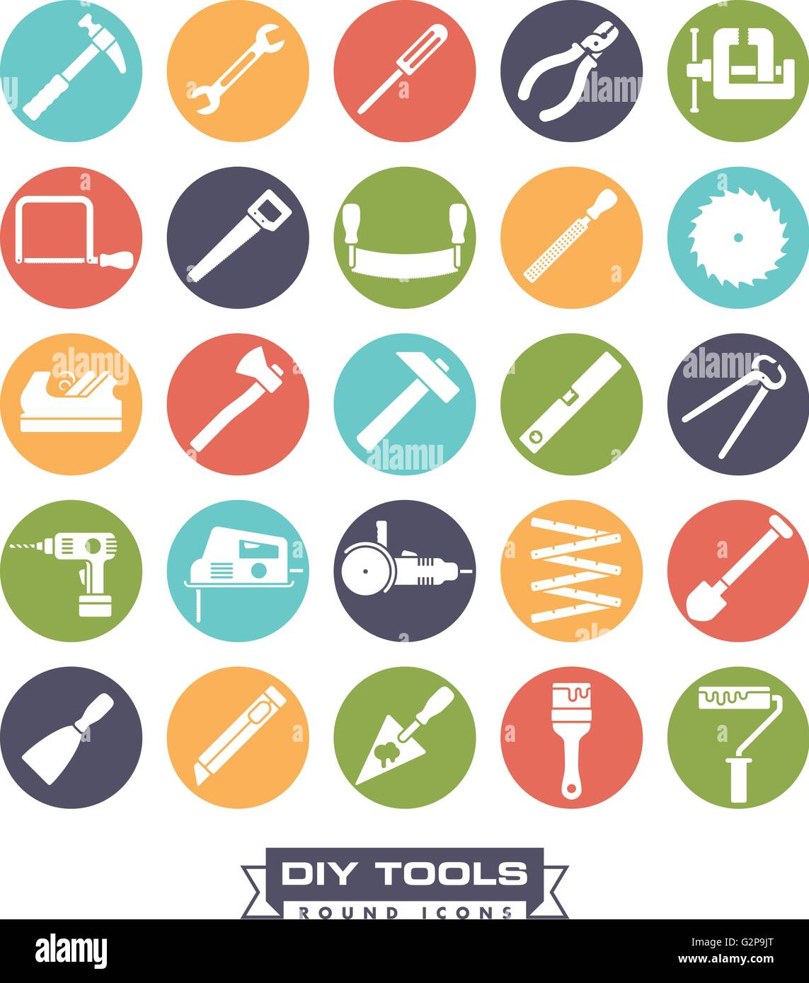Collection of DIY and crafting tool vector icons, negative in colored circles - Stock Vector