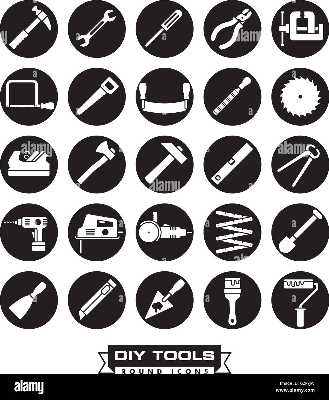 Collection of DIY and crafting tool vector icons, negative in black circles - Stock Vector