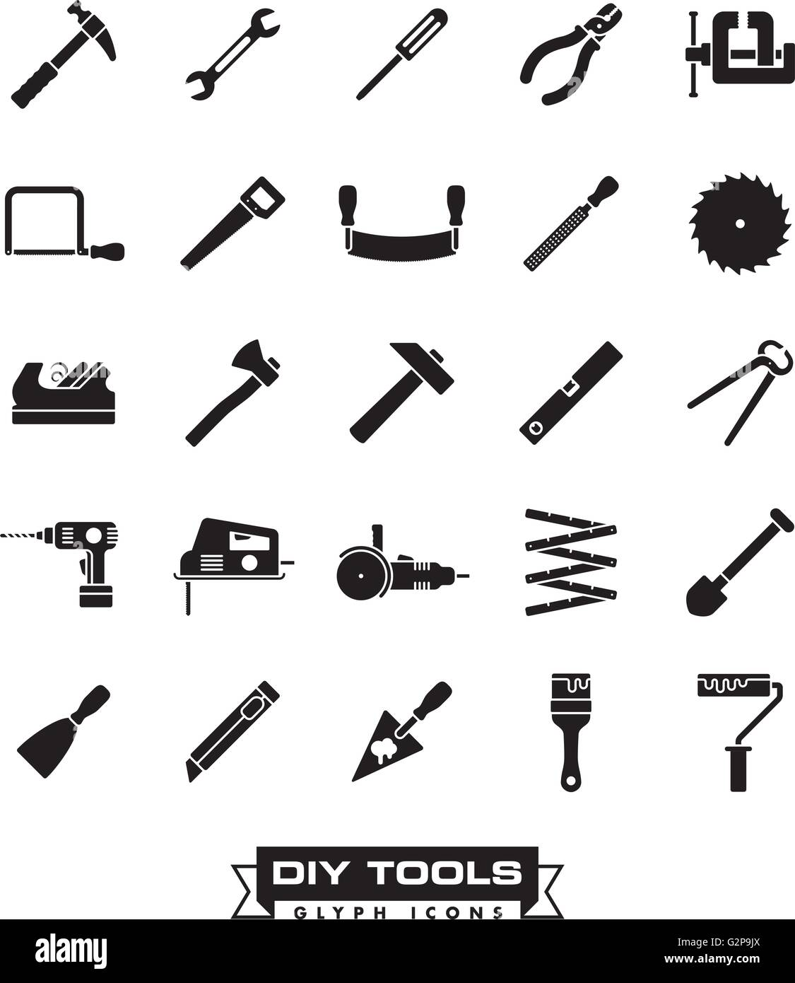 Collection of DIY and crafting tool vector glyph icons - Stock Vector