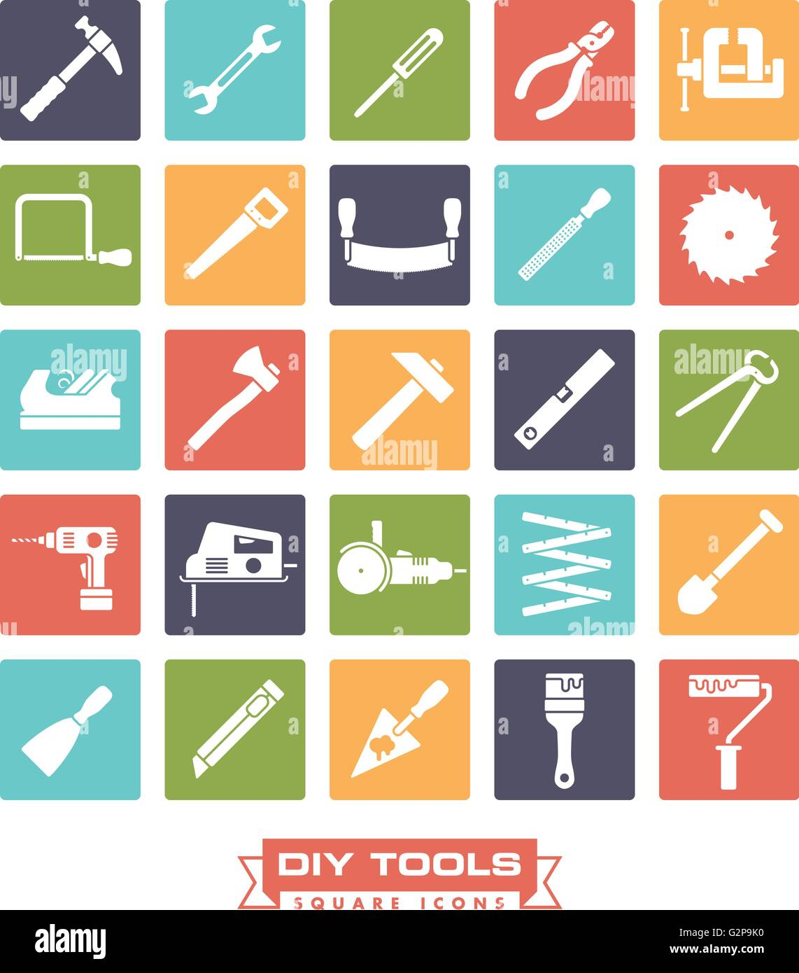 Collection of DIY and crafting tool vector icons, negative in colored squares - Stock Vector