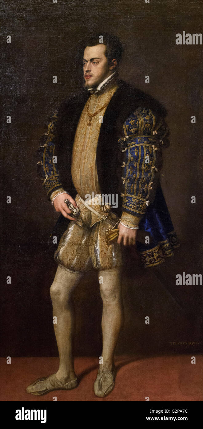 Titian - Tiziano Vecellio (ca. 1488/90-1576), Portrait of Philip II (1527-98), King of Spain (Philip I of Portugal Stock Photo