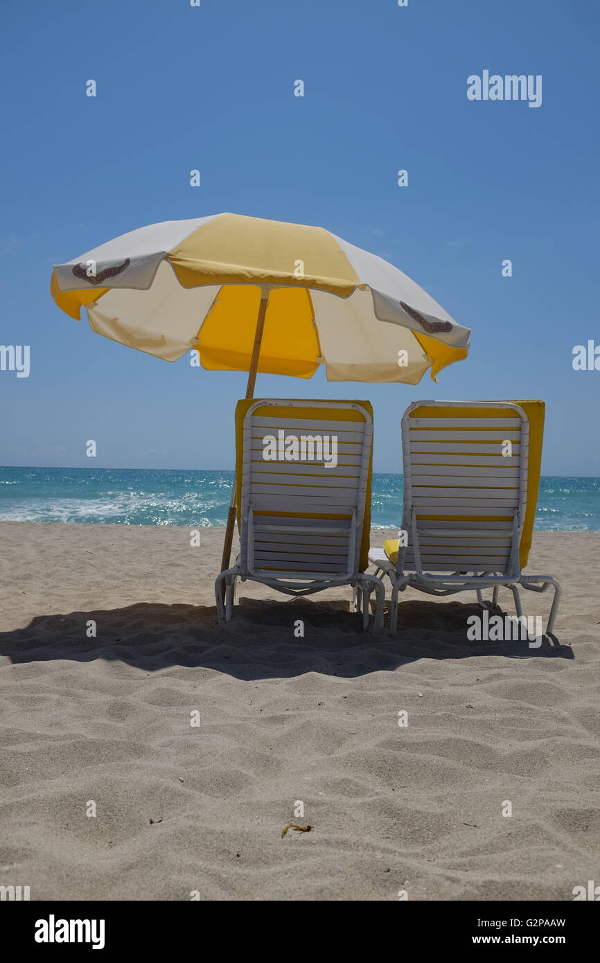 Sun Loungers, Miami beach, Florida, USA - Stock Image