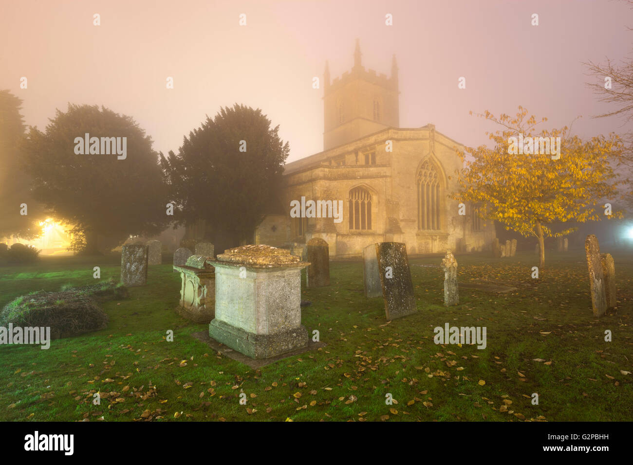 Saint Edward's Church in fog, Stow-on-the-Wold, Cotswolds, Gloucestershire, England, United Kingdom, Europe Stock Photo